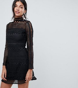 Read more about Parisian tall high neck long sleeve lace skater dress - black