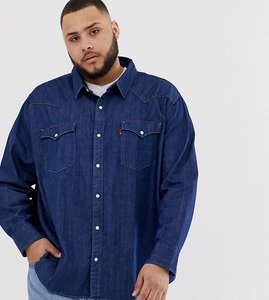 Read more about Levi s big tall classic western denim shirt in core rinse wash