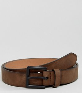 Read more about Asos faux leather slim belt in brown with burnished edges - brown
