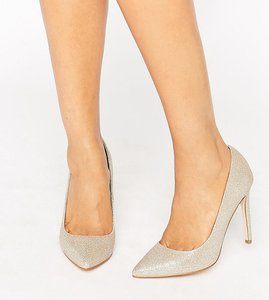 Read more about Asos playful wide fit pointed heels - champagne