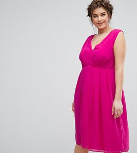 Read more about Asos curve midi dress with pleat detail - fuschia