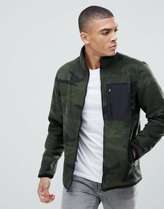 Read more about Abercrombie fitch black label sports full zip trail fleece in olive camo - olive camo