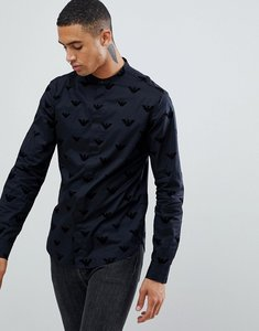 Read more about Emporio armani slim fit grandad collar shirt with all over flocked logo in black - black