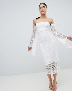 Read more about Club l bandeau crochet arm detailed midaxi dress - white