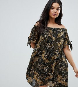 Read more about Brave soul plus off shoulder jungle dress - brown jungle