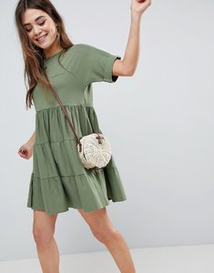 Read more about Asos cotton smock dress with panels - khaki