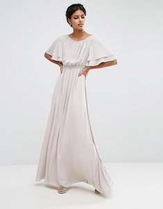Read more about Asos flutter sleeve maxi dress with embellished waist trim - mink