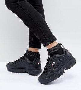 Read more about Fila disruptor sock trainers in triple black - black