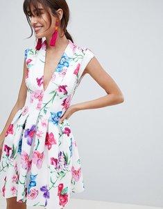 Read more about Asos design botanical paneled deep plunge mini prom dress - multi