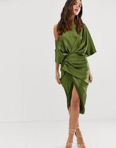Read more about Asos edition drape asymmetric midi dress in satin