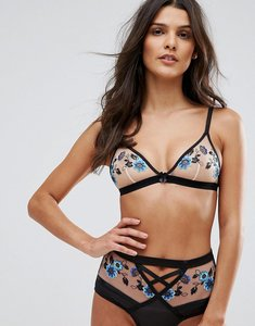 Read more about New look floral embroidered triangle bra - blue pattern