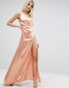 Read more about Asos strap drape front thigh split maxi dress - nude