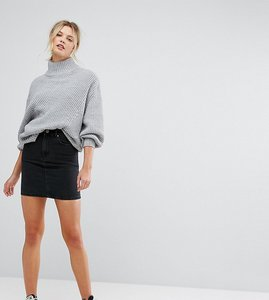 Read more about Asos tall denim original high waisted skirt in washed black - washed black