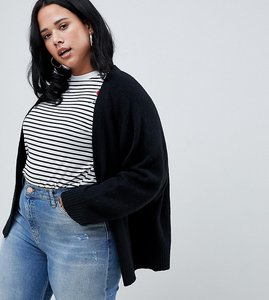 Read more about Asos design curve eco cardigan in fluffy yarn - black