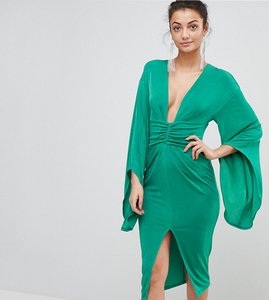 Read more about Asos tall deep plunge slinky kimono midi dress - emerald green