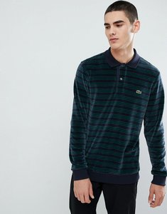Read more about Lacoste corduroy long sleeve stripe polo in navy - navy