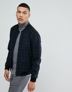 Read more about Selected homme wool bomber jacket with check - dark sapph
