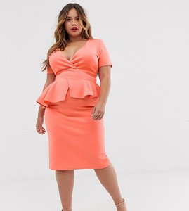 Read more about True violet plus midi pencil dress with peplum in coral