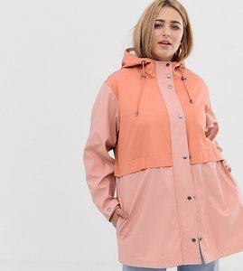 Read more about Asos design curve blocked raincoat in pink