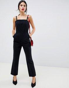 Read more about Asos design denim strappy jumpsuit in washed black - black