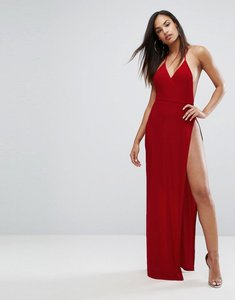 Read more about Club l slinky wrap front maxi dress - red