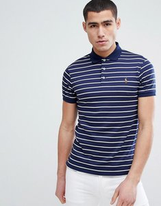 Read more about Polo ralph lauren slim fit pima jersey stripe polo multi player in navy - french navy white