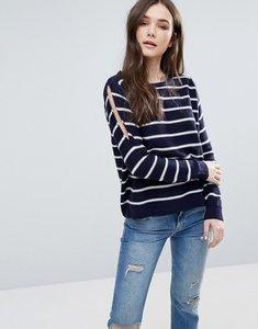 Read more about Brave soul stripe cold shoulder jumper - navy white