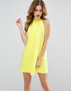 Read more about Asos scuba bow back swing mini dress - yellow
