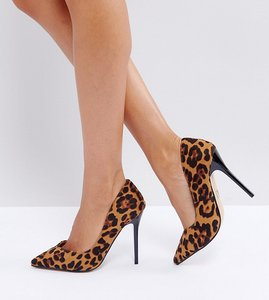 Read more about Lost ink leopard print heeled court shoes - leopard print pony