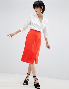 Read more about Warehouse wrap pencil skirt - red