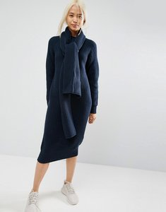 Read more about Asos white chunky knit midi dress with scarf tie detail - navy