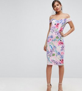 Read more about Paper dolls tall floral printed bardot pencil dress - multi