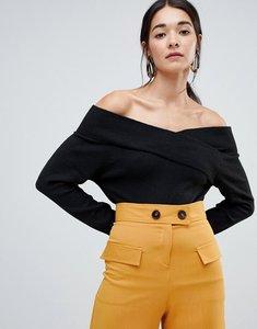 Read more about Vila off shoulder knitted jumper - black