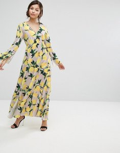 Read more about Aeryne maxi dress with split in allover lemon print - lemon print