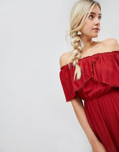 Read more about Lunik off shoulder midi dress with hanky hem - brick