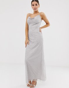 Read more about Lipsy embellished cowl front maxi dress in silver