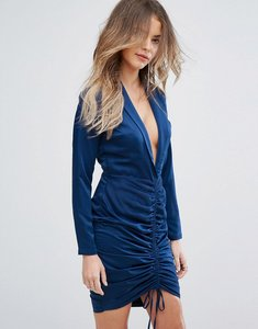 Read more about Lavish alice ruched front mini dress with long sleeves - navy