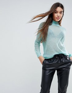 Read more about Asos jumper in sheer knit with funnel neck - pale blue