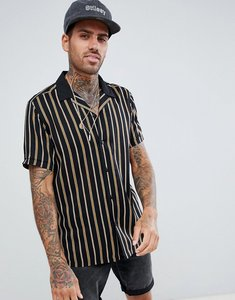 Read more about Asos design regular fit stripe shirt with revere collar in black - black