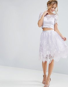 Read more about Chi chi london midi skirt in scallop lace - lilac grey
