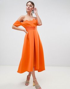 Read more about Asos design bardot pleated waist scuba midi prom dress - bright orange