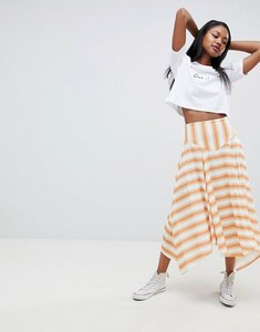 Read more about Asos design yellow stripe hanky hem midi skirt - multi