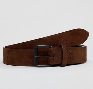 Read more about Asos design slim leather belt in distressed leather in brown - brown
