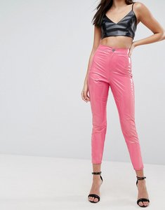 Read more about Asos rivington high waisted denim jegging in vinyl effect in hot pink - hot pink