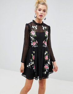 Read more about Asos pretty embroidered mini skater dress on dobby - black