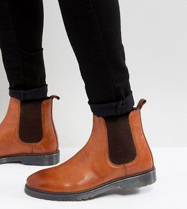 08a6a0ca5be29 Read more about Asos wide fit chelsea boots in tan leather with ribbed sole  - tan