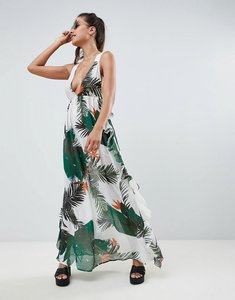 Read more about Asos design tropical print frill back beach maxi dress - tropical