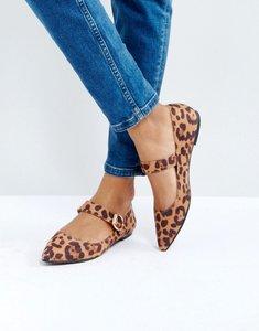 Read more about London rebel mary jane leopard buckle flat shoe - leopard mf gold