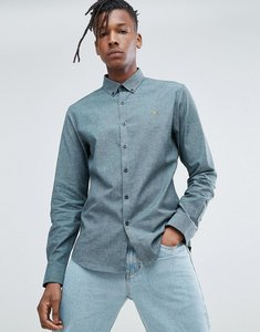Read more about Farah steen slim fit textured shirt in green - green