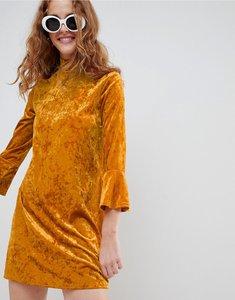 Read more about Monki flute sleeve velvet dress - dark orange